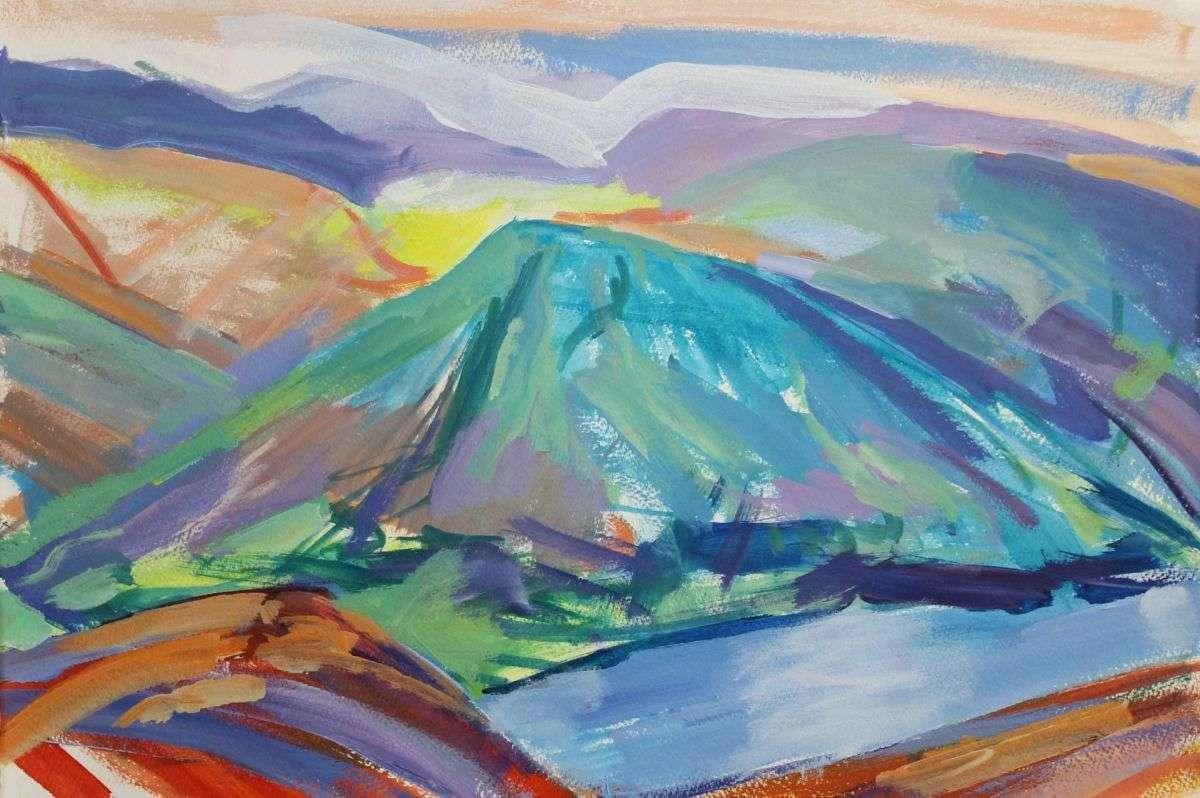 Lake District Study 1 - a colourful landscape painting by D Pott