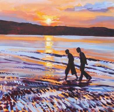 Two Friends on the Beach - seascape painting by David Pott