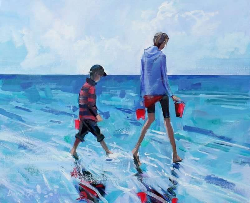 Beachcoming - a seascape painting by David Pott