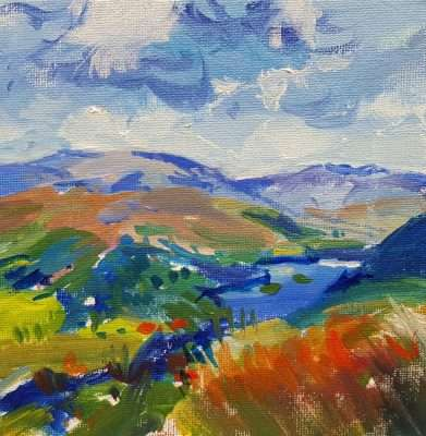 Painting of Rydal Water and Loughrigg Fell