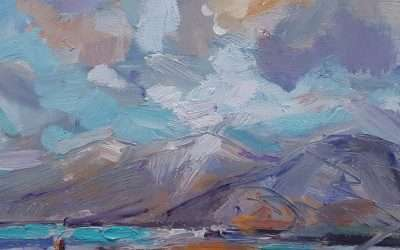 Finished painting: Winter sunshine, beach and mountains