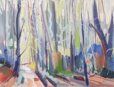 Autumn Mist Through Trees - landscape art painting