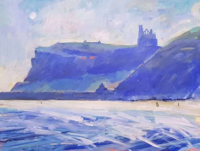 Whitby Abbey and Moon - painting by David Pott