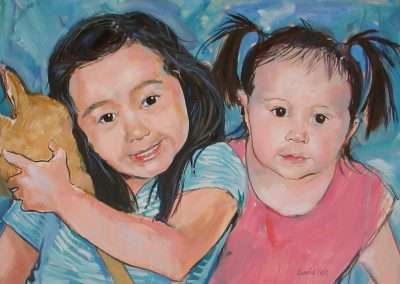 Child portrait commission of two sisters
