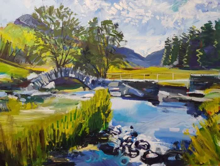 Painting of Slater Bridge Little Langdale in Cumbria, the Lake Districtin the Lake District