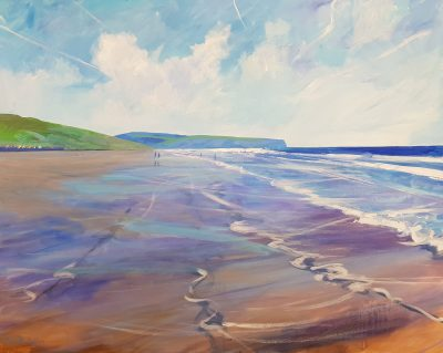 A painting of Sandsend from Whitby by Lancashire artist David Pott