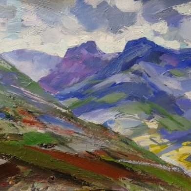 A painting of The Langdales - windy day, showers from the east