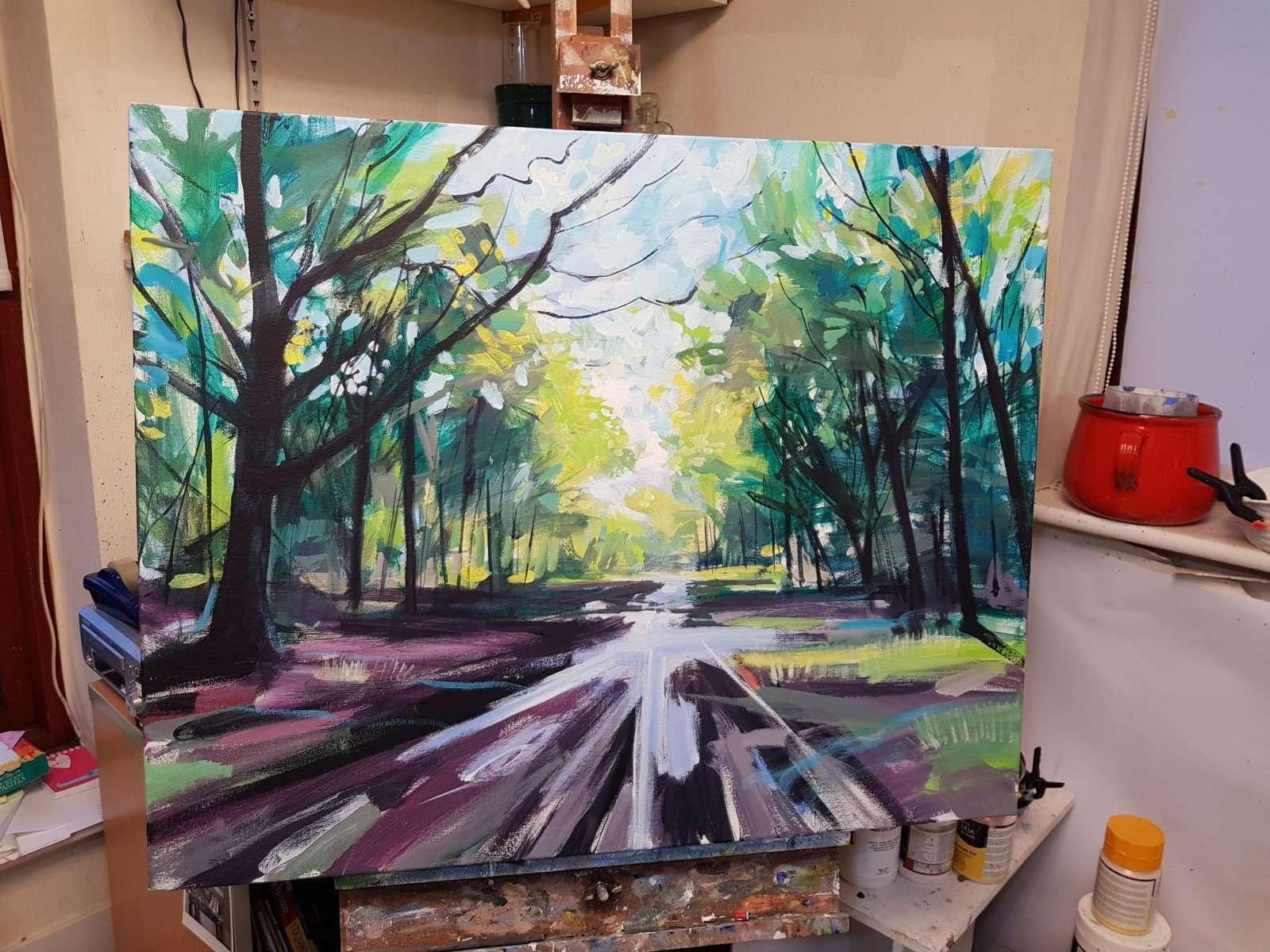Puddles - Landscape painting studio view