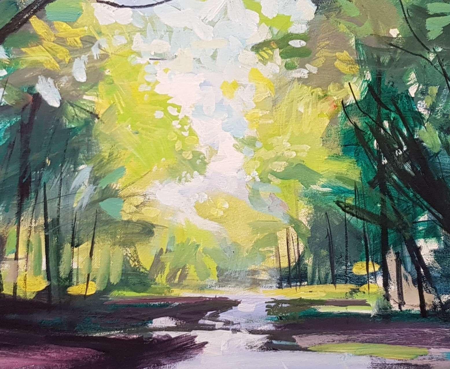 Puddles - Landscape painting closeup