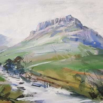 A painting of Eagle Crag from Stonethwaite in the Lake District