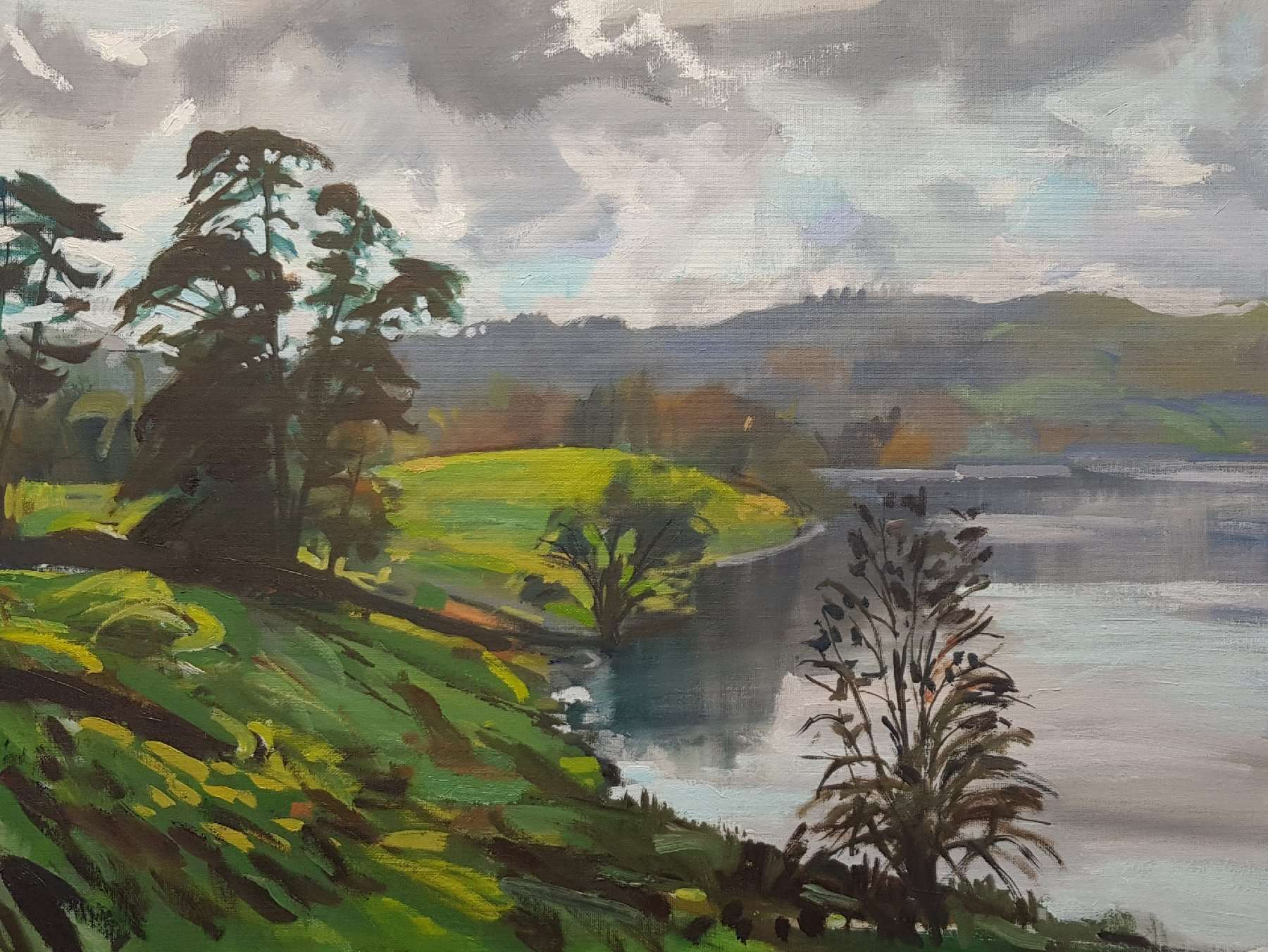 Loughrigg Tarn Painting by Lake District artist David Pott