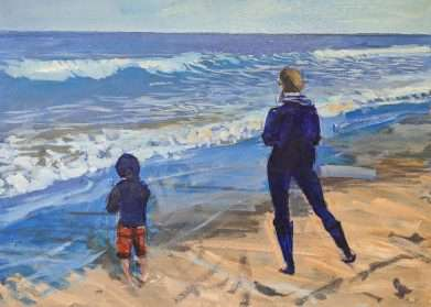 Painting of a mother and child paddling on the beach at Sandsend near Whitby