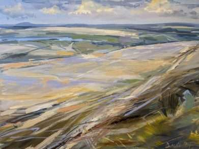 A painitng of Anglezarke Moorland from Winter Hill in the West Pennine Moors