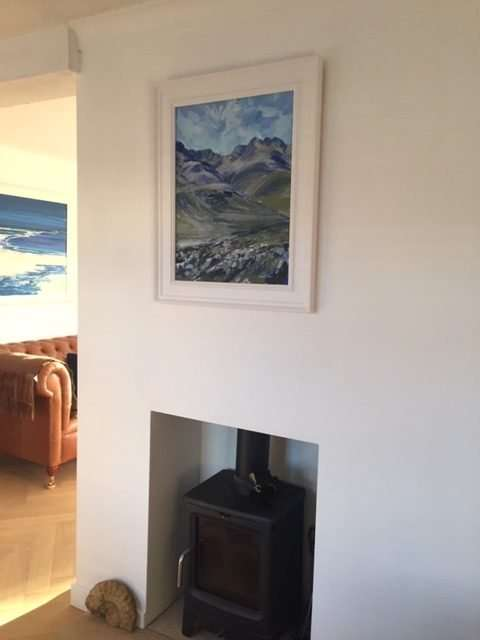 Painitng of Bow fell and the Crinkles in situ