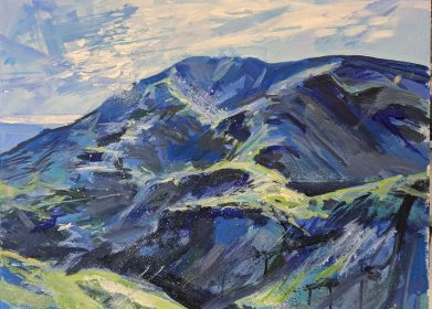 Painitng of Old Man of Coniston Lake District Cumbria