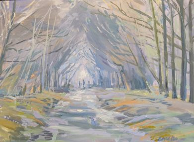 A painting of Misty November Woodland Footpath