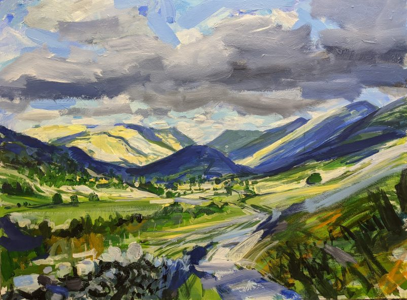 A painting of Troutbeck Tongue in the English Lake District