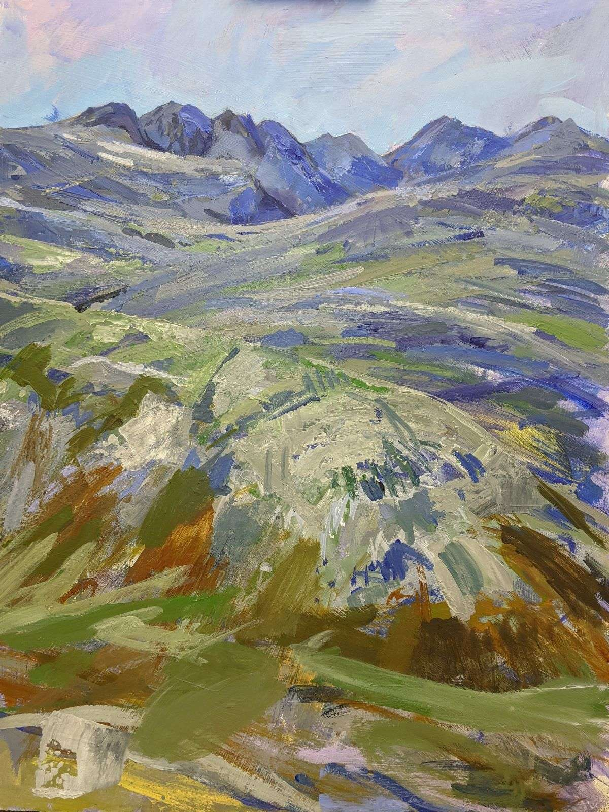 A painting of Crinkle Crags and Bowfell