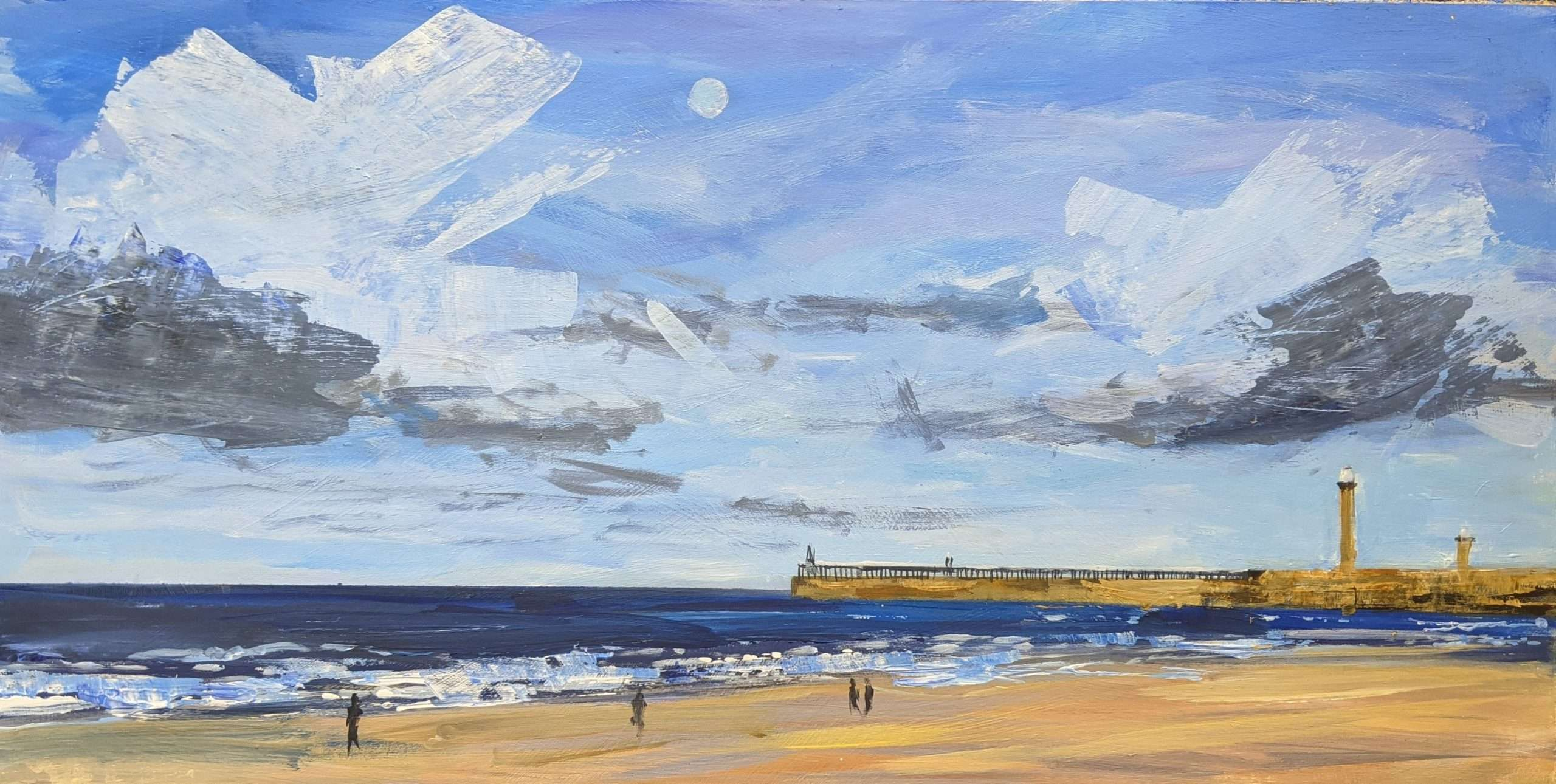 Painting of Whitby - blustery showers and a full moon