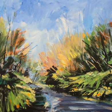 """Autumn Pathways Lancashire"" landscape painting"