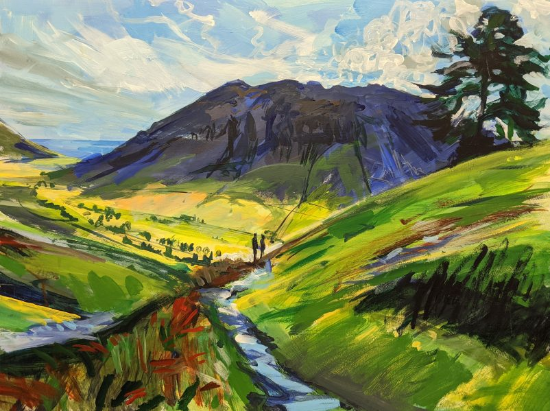 Lake District painting decent to Dungeon Ghyll