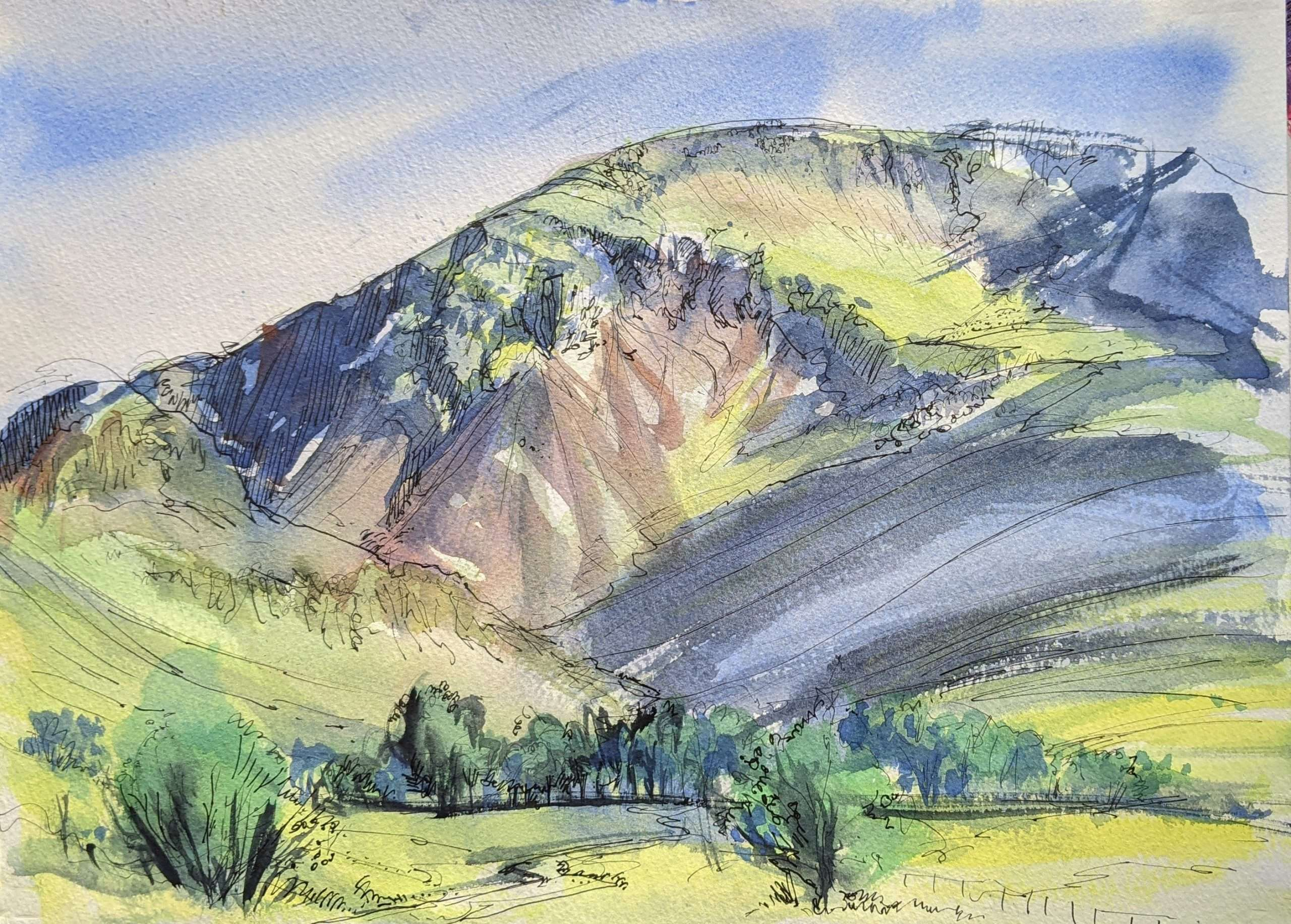 Watercolour painting of Dale Head in the Newslands Valley, Cumbria.